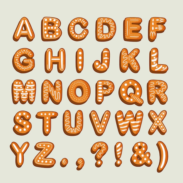 Delicious a to z alphabet of gingerbread Free Vector