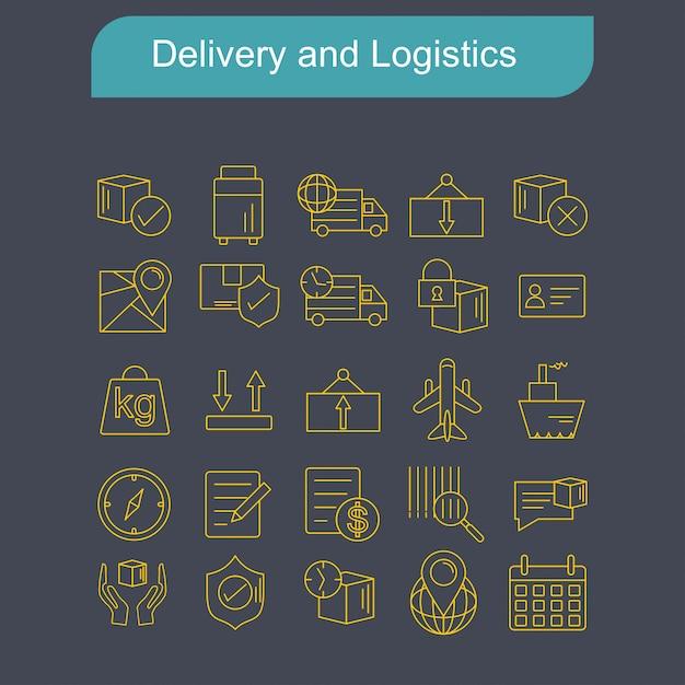 Набор иконок доставки и логистики вектор Бесплатные векторы