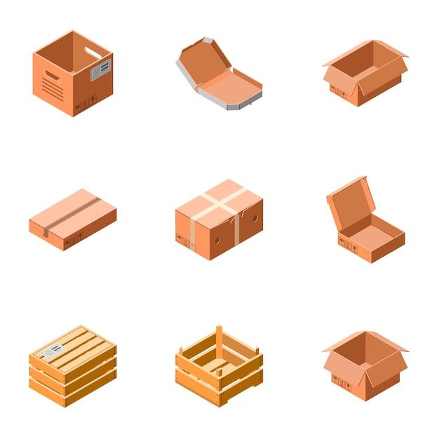 Delivery box icon set. isometric set of 9 delivery box icons Premium Vector