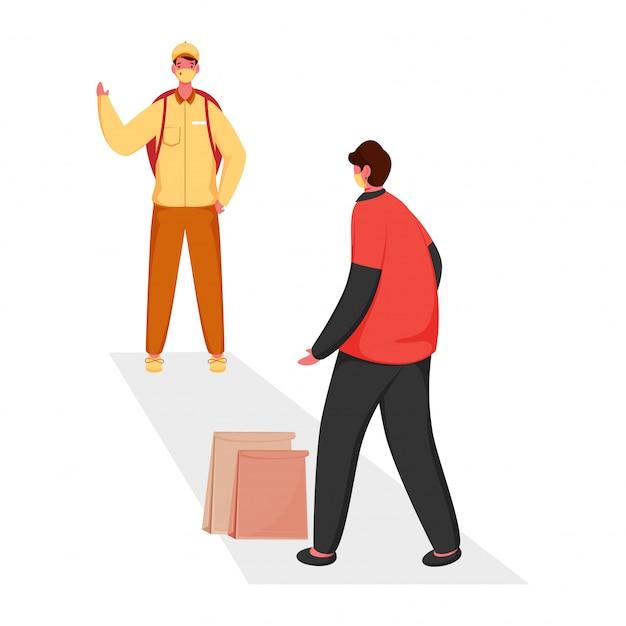 配達の少年は非接触配達のための白い背景の上の紙袋を持つ顧客の男までの距離を保ちます。 Premiumベクター