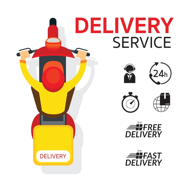 Delivery boy ride scooter motorcycle top or above view Premium Vector