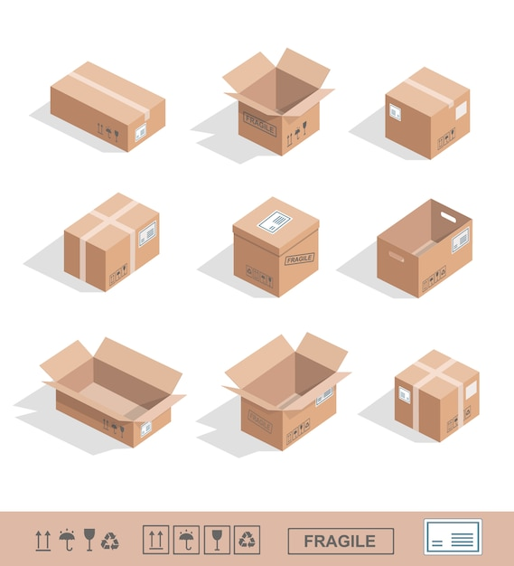 Delivery cardboard boxes collection icons opened, closed, sealed Premium Vector