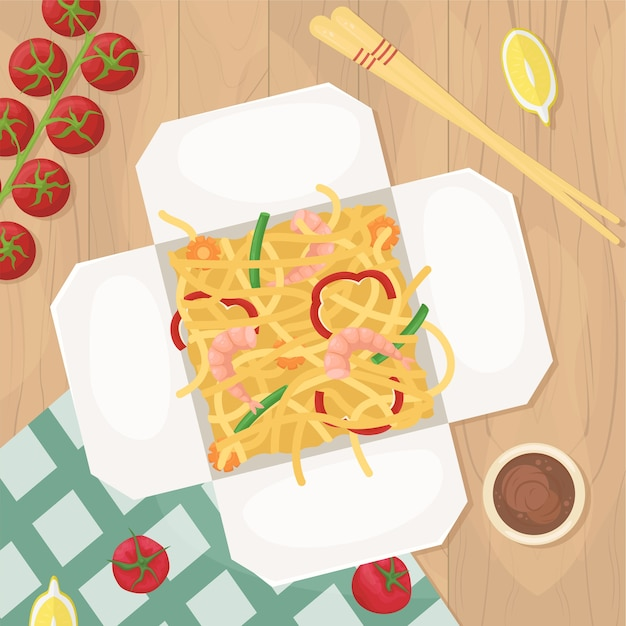 Delivery of chinese food in boxes to your home. asian food in boxes. fried noodles with shrimp and vegetables.  lay illustration. Premium Vector