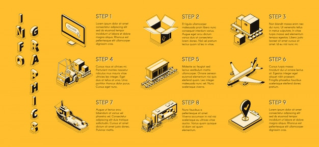 Delivery company isometric infographics Free Vector