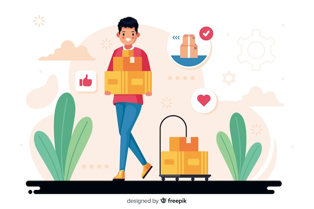 Delivery concept illustration Free Vector