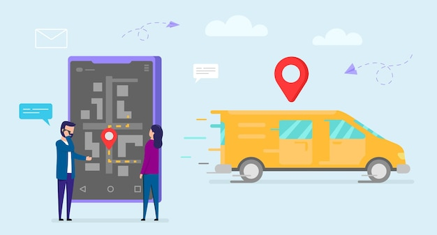 Delivery concept. orange delivery truck moving with red sign above, male and female characters standing near big smartphone, man talking on phone. navigation map on screen. Premium Vector