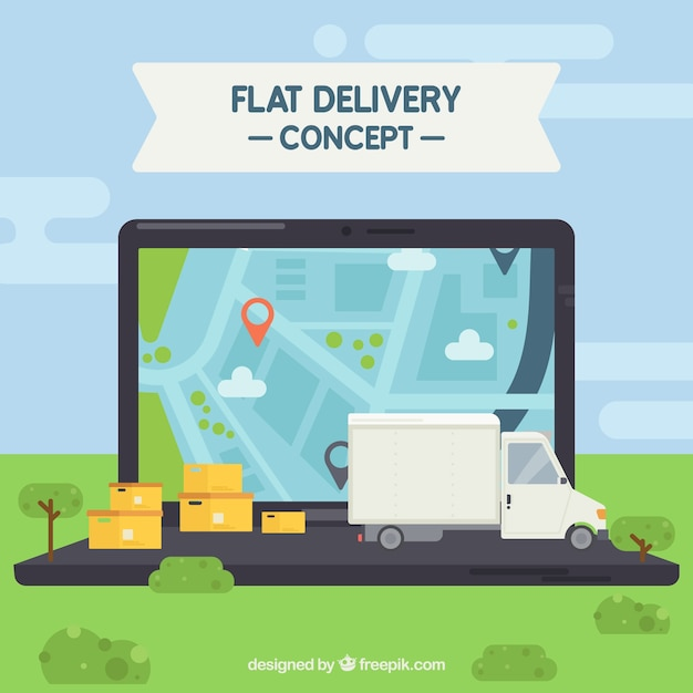 Delivery concept with laptop Free Vector