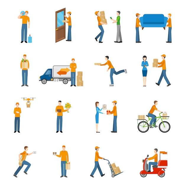 Delivery courier people icons set Free Vector