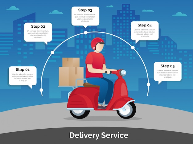 Delivery courier ride scooter motorcycle Premium Vector