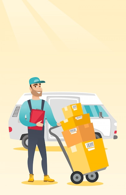 Delivery courier with cardboard boxes. Premium Vector