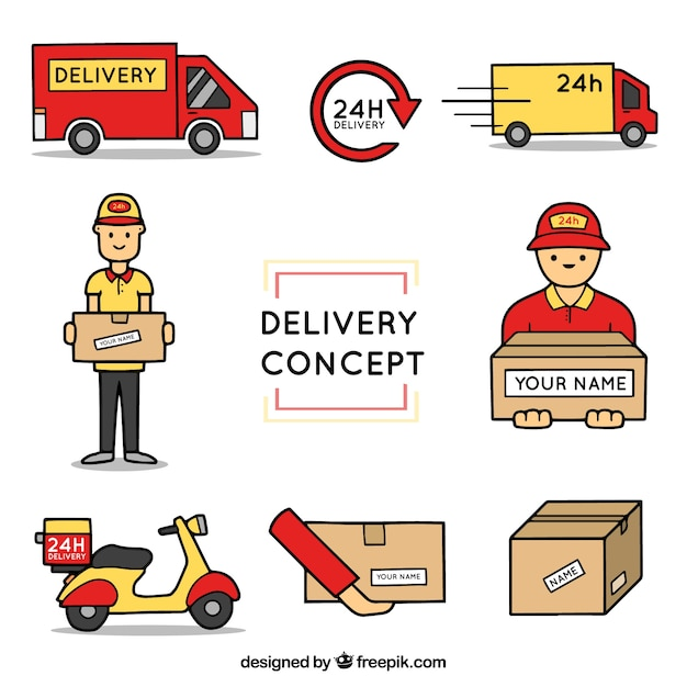 Delivery elements with hand drawn style Free Vector