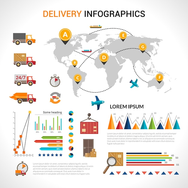 Delivery flat infographics set Free Vector