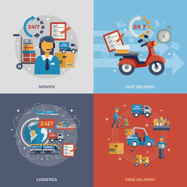 Delivery flat set Free Vector