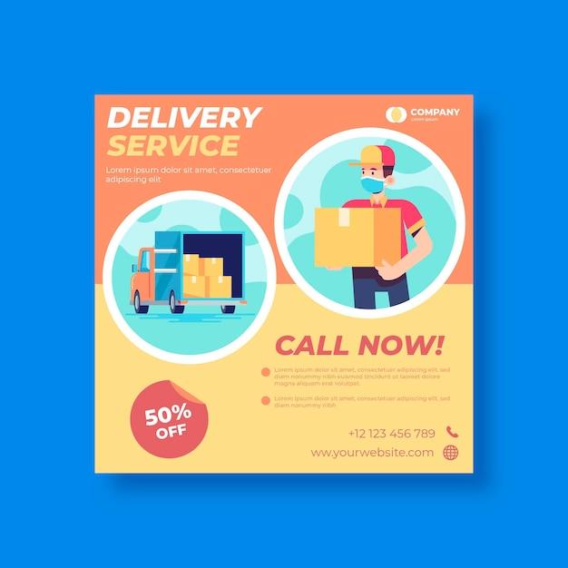 Delivery flyer template Premium Vector
