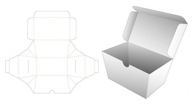Delivery food box die cut template Premium Vector