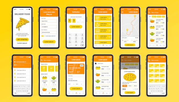 Delivery food unique design kit for app. online pizzeria screens with food menu, order and payment. express delivery and catering service ui, ux template set. gui for responsive mobile application. Premium Vector