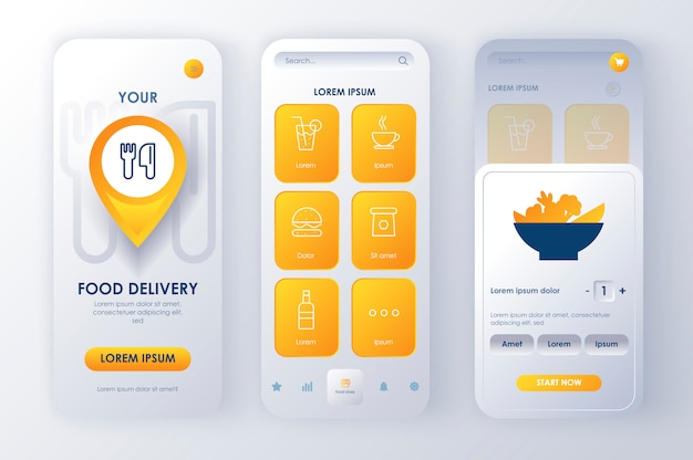 Delivery food unique neomorphic  kit for app. online food order service with restaurant menu and description. express delivery service ui, ux template set. gui for responsive mobile application. Premium Vector