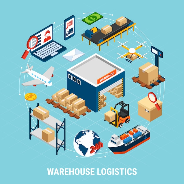 Delivery freight transport and cargoes 3d illustration Free Vector