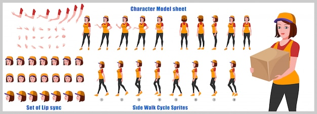 Delivery girl character model sheet with walk cycle animations and lip syncing Premium Vector