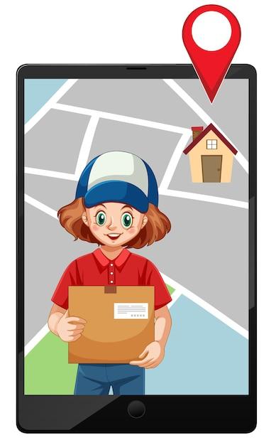 配達の女の子またはタブレットの地図画面で宅配便 無料ベクター
