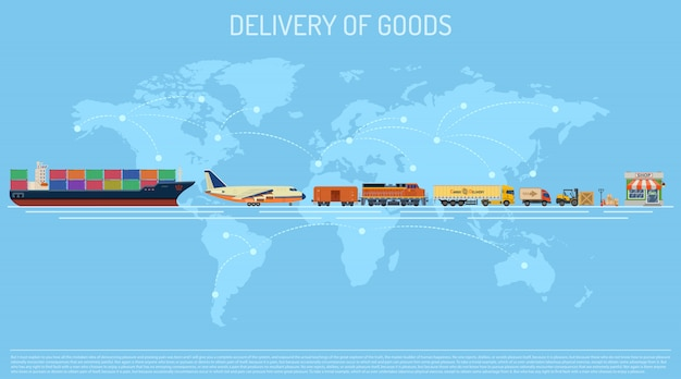 Delivery of goods concept Premium Vector