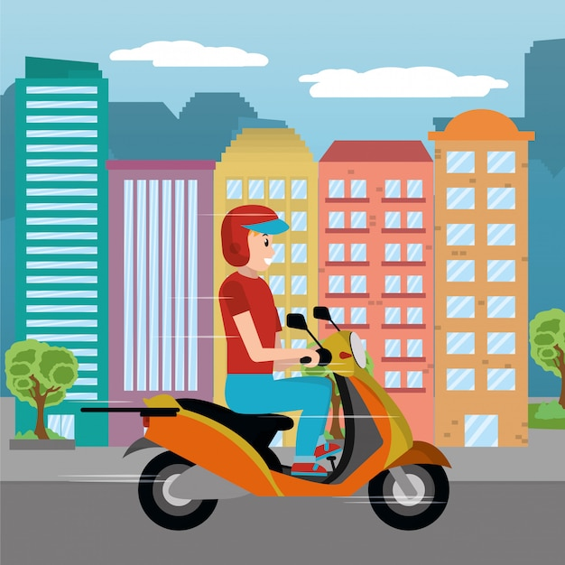 Delivery guy in scooter Premium Vector