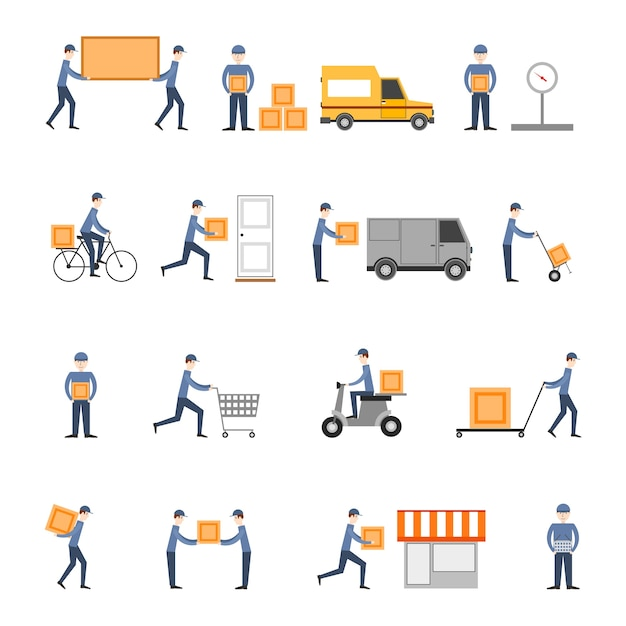 Delivery icons flat set Free Vector