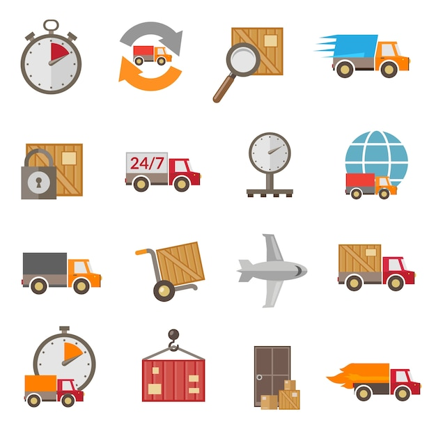 Delivery icons set Free Vector
