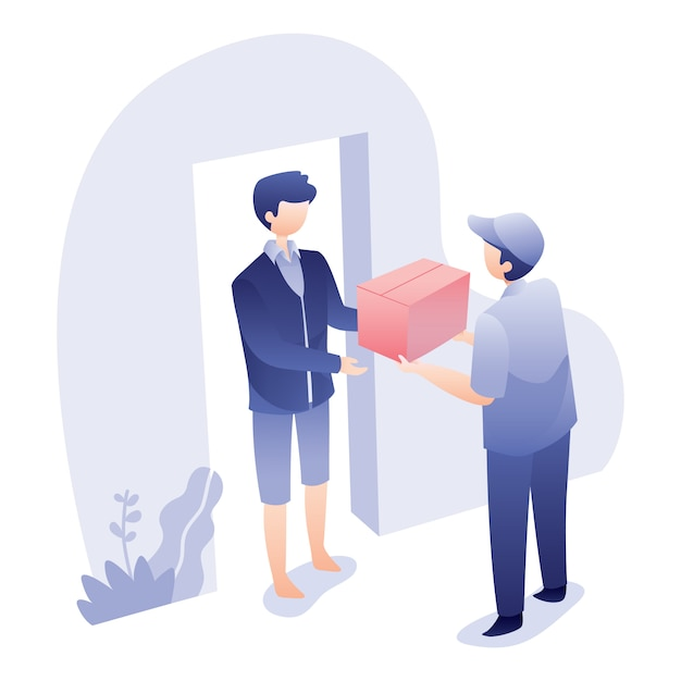 Delivery illustration with courier gives box to recipient Premium Vector