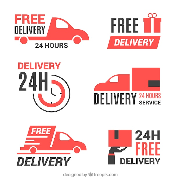Delivery labels with flat design Free Vector