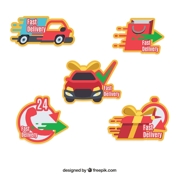 Delivery labels with fun style Free Vector