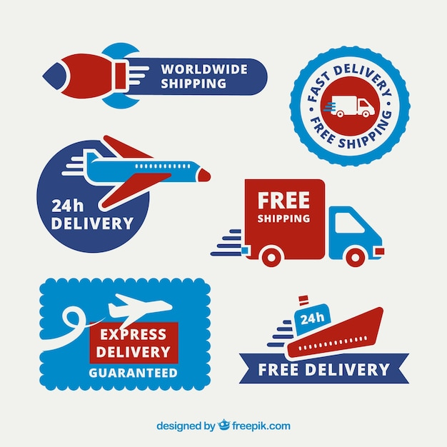 Delivery labels with fun transports Free Vector