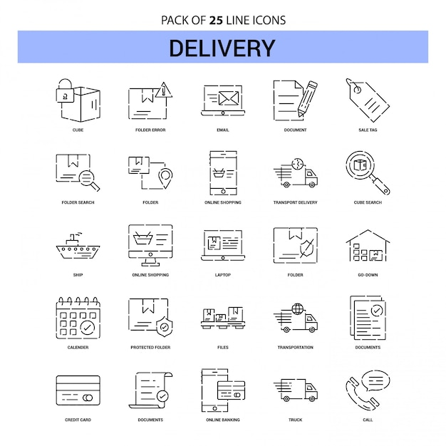 Delivery line icon set - 25 dashed outline style Premium Vector