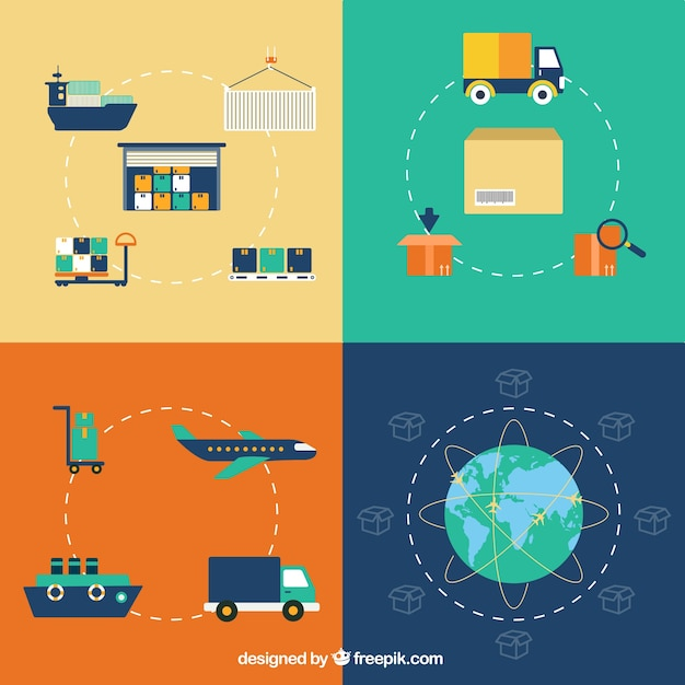 Delivery logistic icons Free Vector