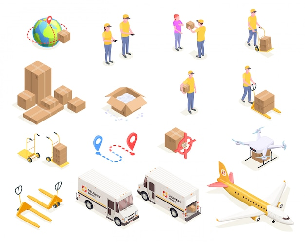 Delivery logistics shipment isometric icons set with isolated images of cardboard boxes and people in uniform  illustration Free Vector