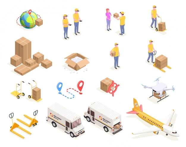골판지 상자와 균일 한 그림에서 사람들의 고립 된 이미지로 설정 배달 물류 배송 아이소 메트릭 아이콘 무료 벡터