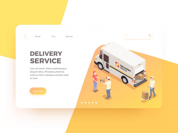 Delivery logistics shipment isometric web landing page design background with clickable links editable text and images  illustration Free Vector