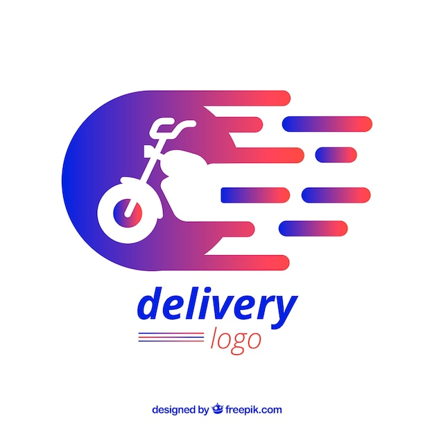 Delivery logo template with motorbike Premium Vector