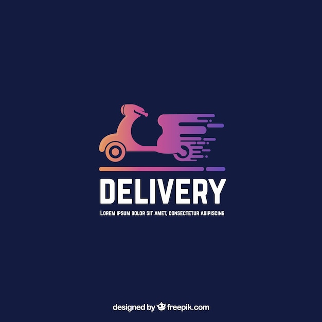 Delivery logo template with motorbike Free Vector