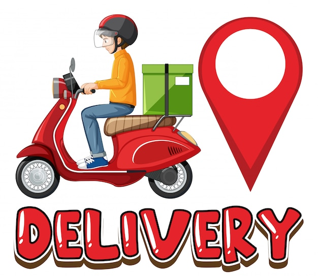 Delivery logo with bike man or courier Free Vector
