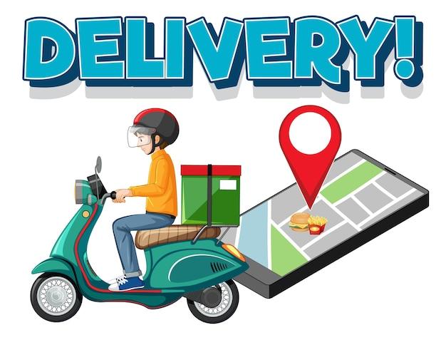 Logo di consegna con bike man o corriere Vettore gratuito