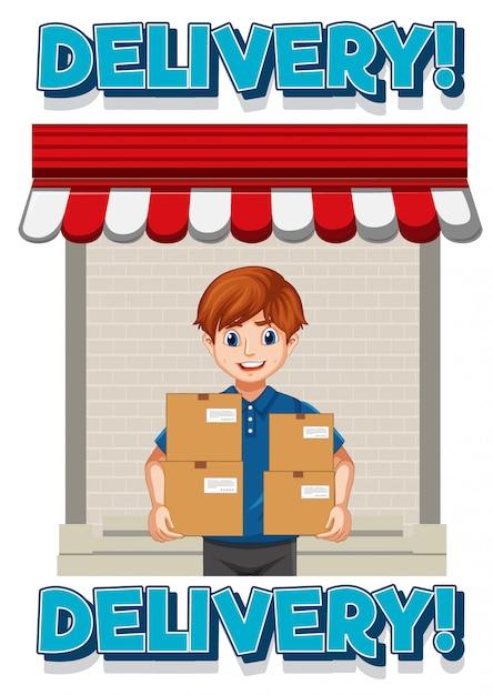青い制服の漫画のキャラクターの配達または宅配便の人と配信ロゴ 無料ベクター