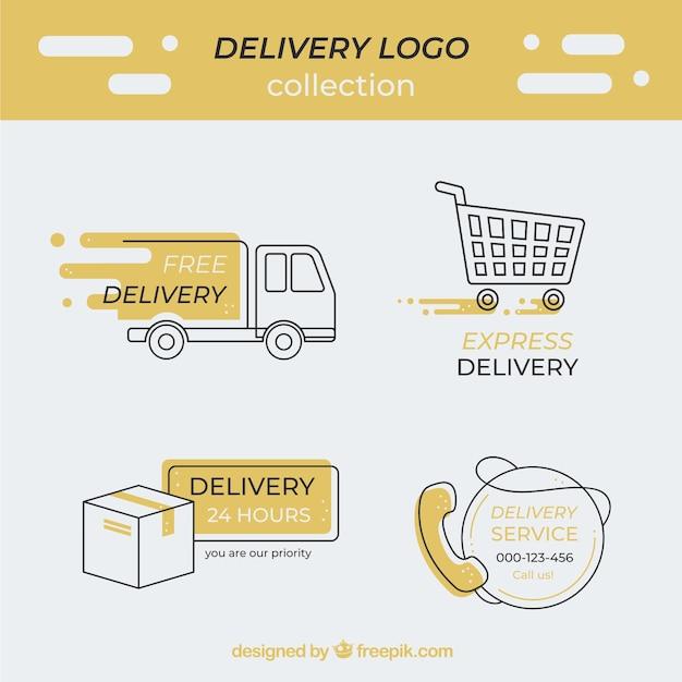 Коллекция логотипов доставки Premium векторы
