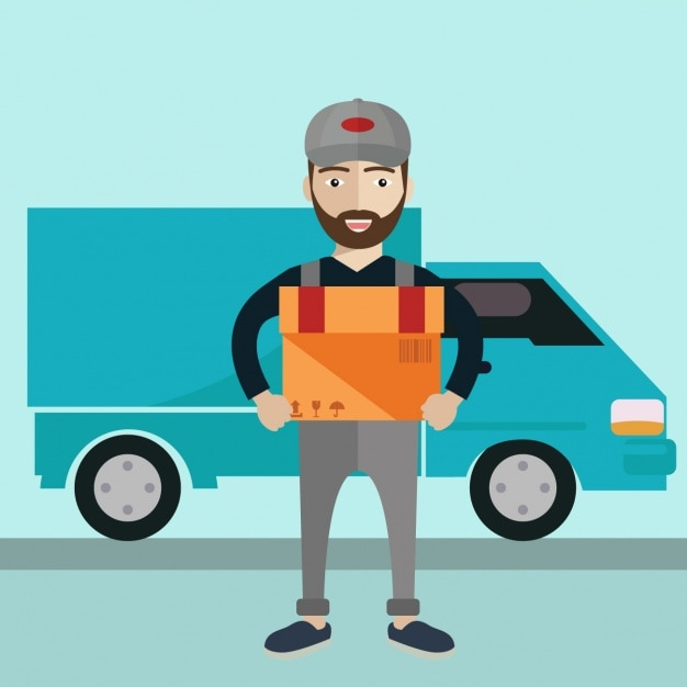 Delivery man background design Free Vector