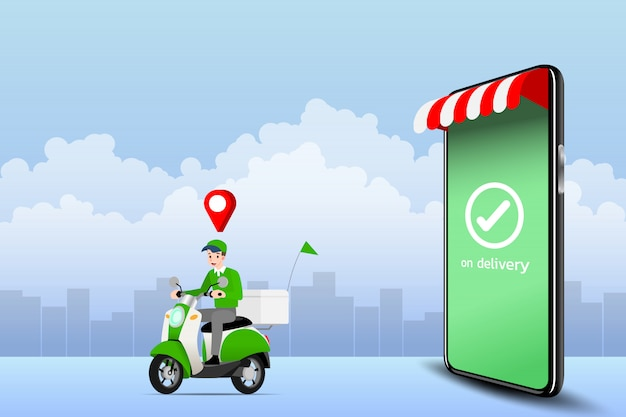 Delivery man going to deliver product. Premium Vector