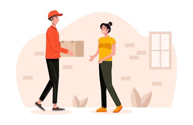 顧客のイラストへの小包パッケージボックスを扱う配達人 Premiumベクター