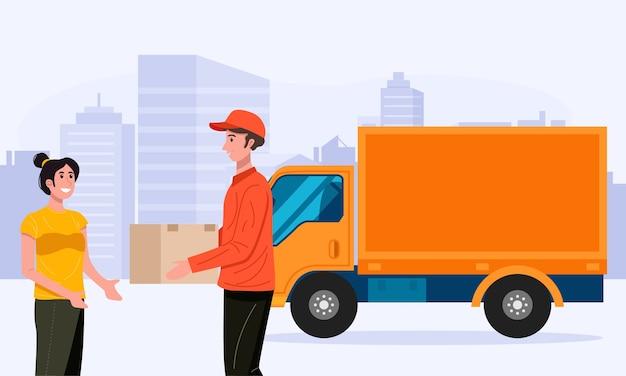 Доставщик, обрабатывающий коробку пакета посылки к клиенту. Premium векторы