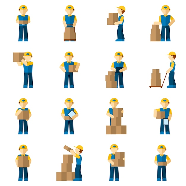Delivery man icon flat Free Vector