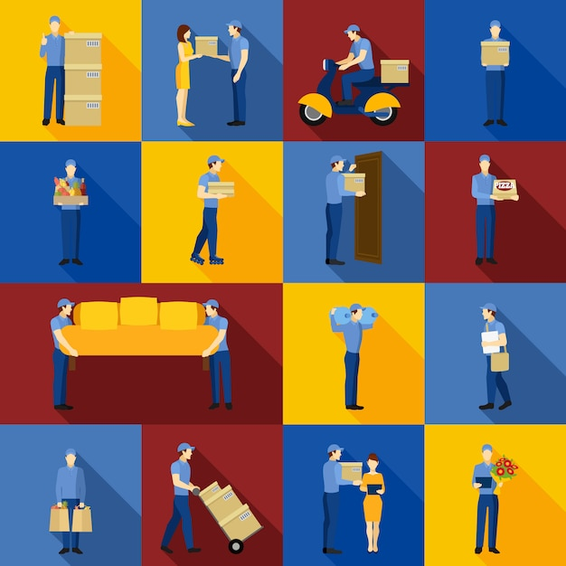 Delivery man icons set Free Vector