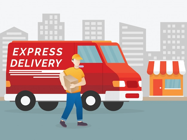 Delivery man illustration Premium Vector
